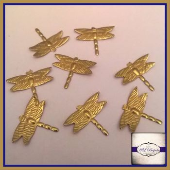 Raw Brass Dragonfly Solderable Accents x5 - Brass Stampings