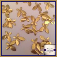 Raw Brass Raised Butterfly Solderable Accents x5 - Brass Stampings