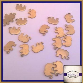 Raw Brass Elephant Solderable Accents x5 - Brass Stampings