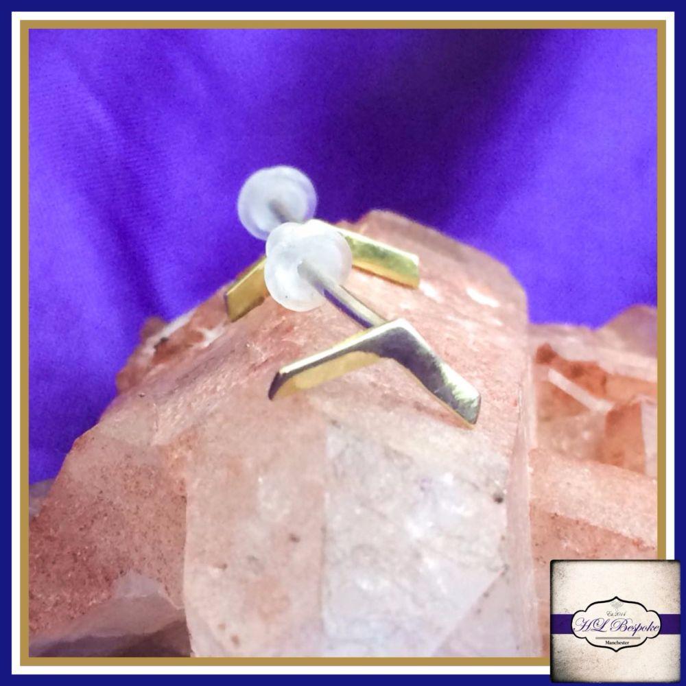 Sterling Silver Chevron Earrings - Cute Little Chevron Studs Gift Boxed  -