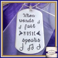Personalised Dog Tag Necklace - When Words Fail Music Speaks - Musical Jewellery - Music Lover Gift - Music Jewellery - Reflective Gift