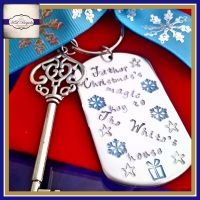 Personalised Magic Key - Father Christmas' Magic Key To NAMEs House - Metal Magic Key Hand Stamped And Design To Your Chosen Colours
