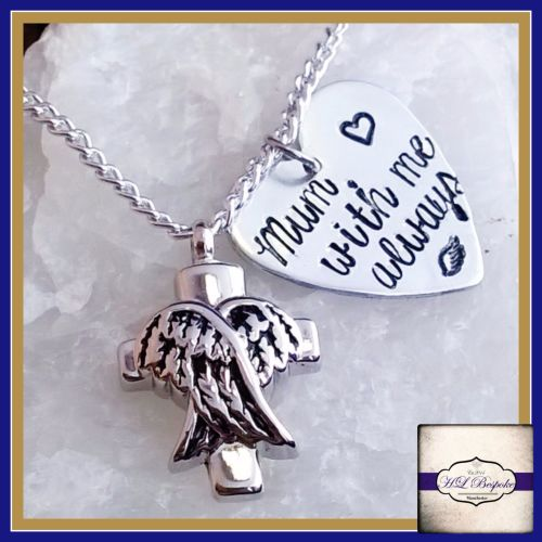 Personalised Cremation Urn Necklace - Cremation Urn Pendant - Angel Wing Ur