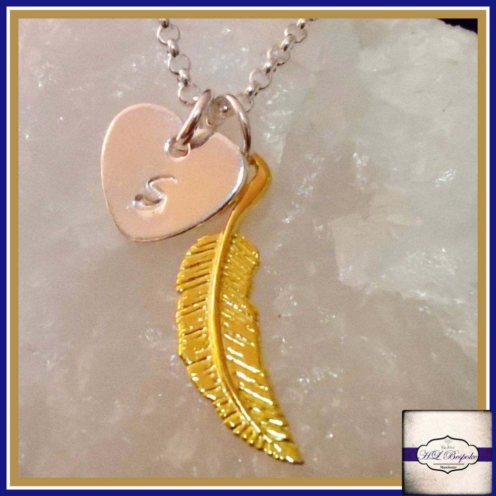 Personalised Feather Necklace - Silver & Gold Necklace - Guardian Angel Nec