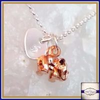 Personalised Elephant Necklace - Silver & Rose Gold Elephant Necklace - Rose Gold Elephant Necklace - Rose Gold Jewellery - Elephant Charm