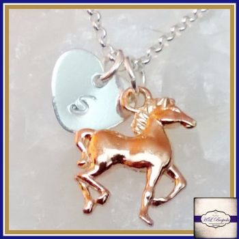 Personalised Horse Necklace - Silver & Rose Gold Galloping Horse Necklace - Rose Gold Horse Necklace - Rose Gold Jewellery - Sterling Silver