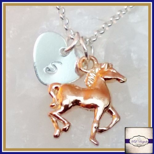 Personalised Horse Necklace - Silver & Rose Gold Galloping Horse Necklace -