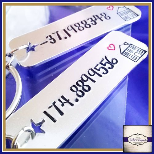 Personalised Valentines Couple Keyrings - Special Place Gift - Longitude &