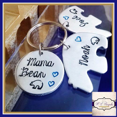 Personalised Mummy Bear Keyring - Mama Bear Gift - Mummy Bear and Baby Bear