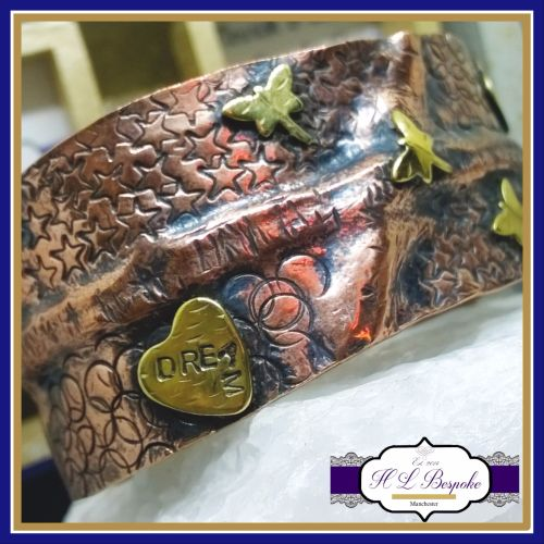 Inspirational Quote Mixed Metal Cuff With Dragonflies, Hearts & Stars - Cop