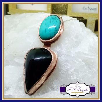 VOLTURQ - Obsidian Turquoise in Copper Pendant - Statement Pendant - Obsidian Pendant - Turquoise Pendant - Dual Gemstone Pendant - Artisan