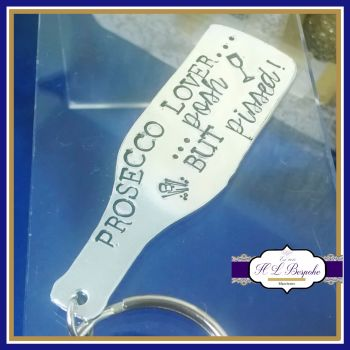 Prosecco Love Posh But Pissed Keyring - Prosecco Lover Keyring - Prosecco Lover Gift - Prosecco Gift - Champagne Love Keyring - Wine Gift