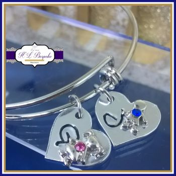 Personalised Birthstone Bangle - Mothers Day Gift - Adjustable Bangle - Birthstone Jewellery - Personalised Birthstone Bracelet - New Mum Gift - Birth