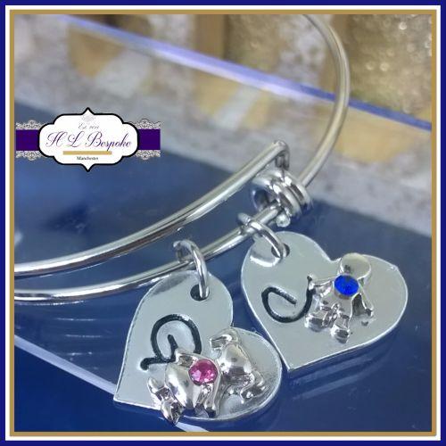 Personalised Birthstone Bangle - Mothers Day Gift - Adjustable Bangle - Bir