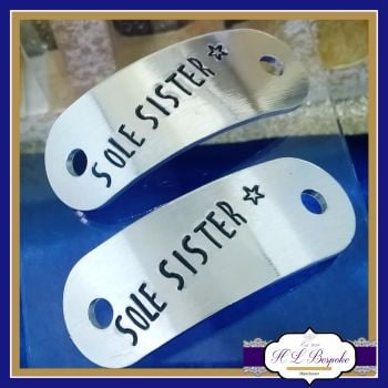 Sole Sister Gift - Personalised Trainer Tags - YOU CHOOSE WORDING - Sole Sister - Runner Shoe Charm - Jogger Gifts - Marathon Gift