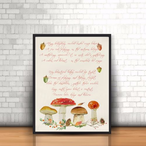 Woodland Nursery Print - Woodland Watercolour Print - Woodland Poem Print -