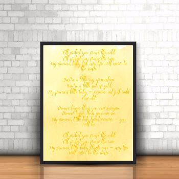 Unisex Nursery Poem Print - Watercolour Print - Yellow Baby Print - Nursery Watercolour - Unique Poem - Poem For Baby - Yellow Nursery Decor