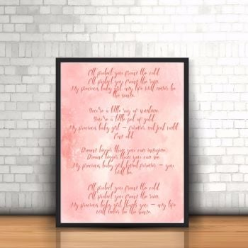 Baby Girl Nursery Poem Print - Pink Watercolour Print - Baby Girl Decor - Nursery Watercolour Print - Unique Poem - Poem Print For Girl