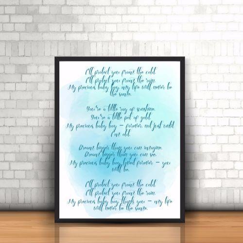 Boy Nursery Poem Print -Watercolour Print - Baby Print - Nursery Watercolou
