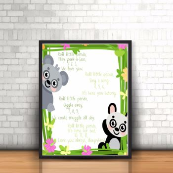 Panda Nursery Rhyme Print - Nursery Rhyme Print - Nursery Art - Unisex Nursery Poem - Unisex Nursery Print - Nursery Jungle Print - Unframed