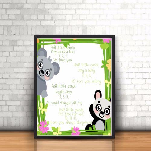 Panda Nursery Rhyme Print - Nursery Rhyme Print - Nursery Art - Unisex Nurs