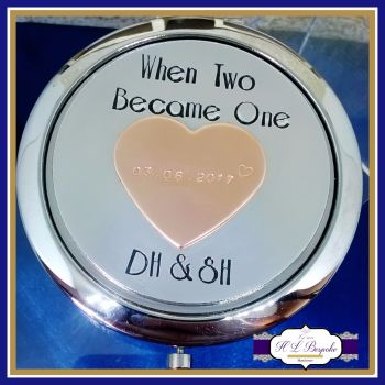 Wedding Day Bride Gift - Bride Compact Mirror - Wedding Day Gift - Copper Wedding Day Keepsake - When Two Became One - Personalised Compact