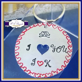 I Love You Keyring - Love Bird Gift - Love Bird Keyring - Small Gesture Gift - Anniversary Gift - Anniversary Keychain - Valentine's Gift