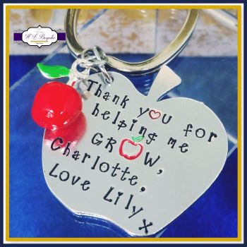 Personalised Teacher Keyring - Teacher Gift - Teacher Apple Gift - Thank You For Helping Me Grow - Teaching Assistant Gift - Childminder Gif