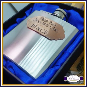 Wedding Groom Gift - Groom Hip Flask - Wedding Day Gift - Copper Wedding Day Keepsake - When Two Became One - Personalised Hipflask - Groom