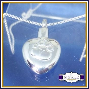 Pet Cremation Urn Jewellery - Paw Cremation Urn Pendant - In Memory Of Pet Jewellery - Dog Urn Jewellery - Personalised Pet Necklace