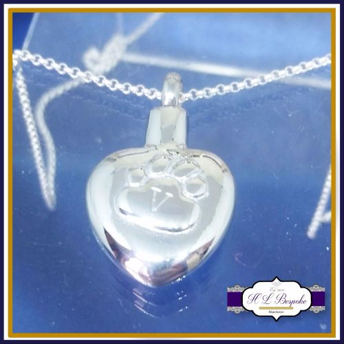 Pet Cremation Urn Jewellery - Paw Cremation Urn Pendant - In Memory Of Pet