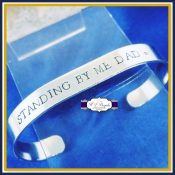 Men's Wedding Memorial Cuff - Memorial Gift For Groom - Man's Wedding Memorial Bracelet, Men's Wedding Memorial - Walk With Me Dad