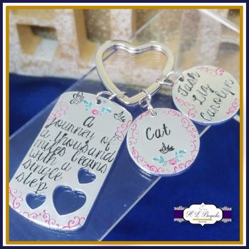 New Journey Keyring - A Journey Of A Thousand Miles Begins With A Single Step - New Beginning Gift - Moving Away Gift - Inspiration Keychain