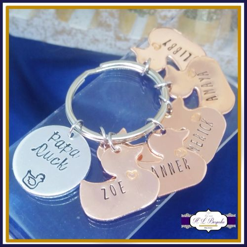 Personalised Daddy Duck Keyring - Papa Duck Keychain - Duck Gift - Pappa Du