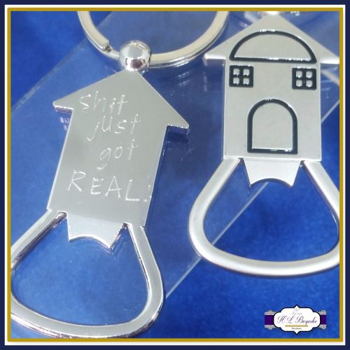 Funny New Home Keyring - House Shaped Bottle Opener - First Home Keyring -