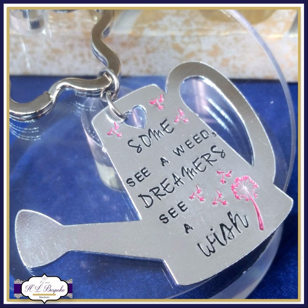 Gardening Keychain - Shed Keyring - Some See A Weed Dreams See A Wish - Gar