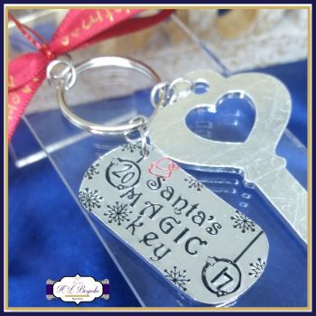 Personalised 2017 Magic Key - Father Christmas' Magic Key With Date Tag - Hand Stamped Magic Key - Metal Magic Key W/ Child's Initials