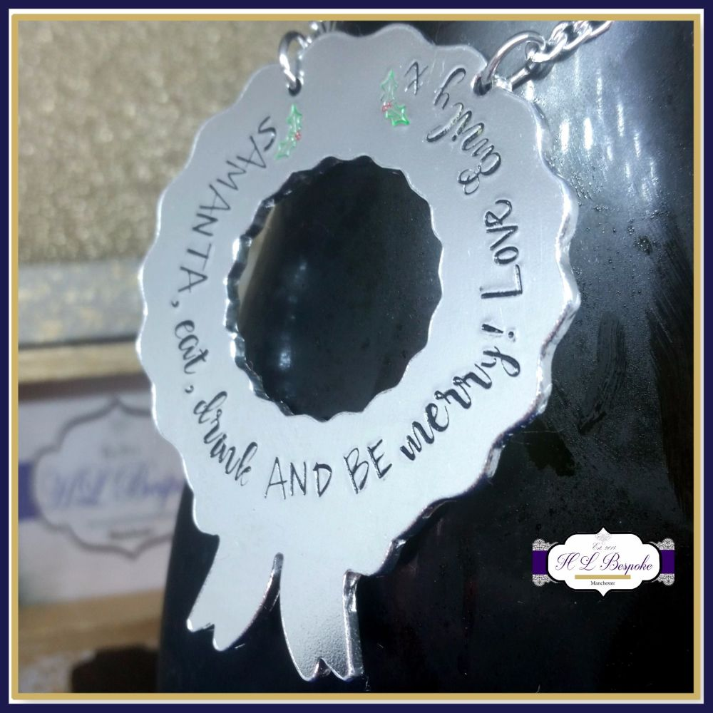 Personalised Bottle Neck Tag - Eat Drink & Be Merry - Decanter Tag - Christ