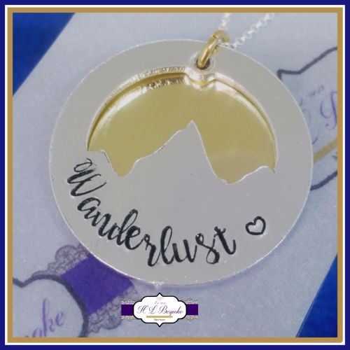 Personalised Mountain Necklace - YOU CHOOSE WORDING - Mountain Pendant - Mo