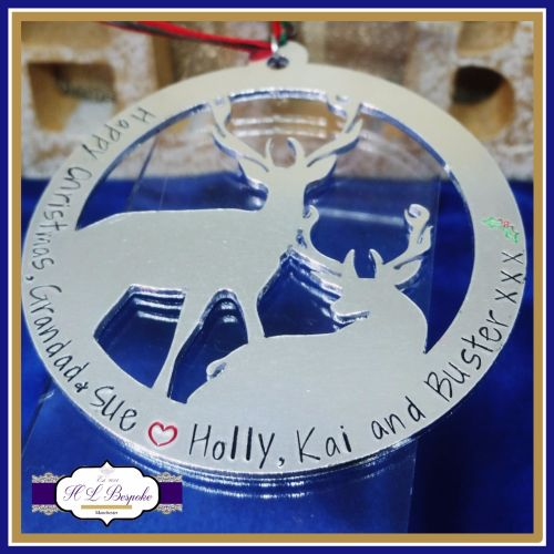 Personalised Stag Christmas Decoration - YOU CHOOSE WORDING - Personalised