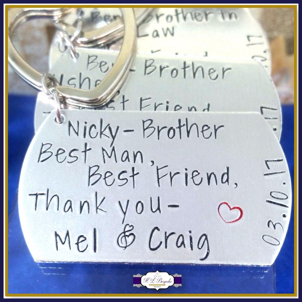 Personalised Best Man Keyring - Thank You Wedding Gift - Wedding Guest Keyr