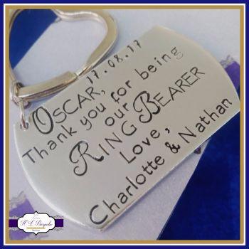 Personalised Ring Bearer Keyring / Ring Bearer Gift - Best Man Gift - Usher Gift - Personalised Wedding Keyring With Date & Couple Name