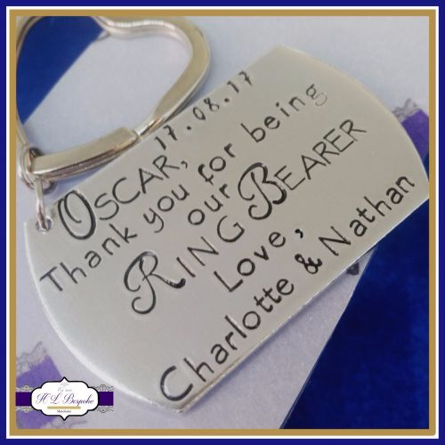 Personalised Ring Bearer Keyring / Ring Bearer Gift - Best Man Gift - Usher