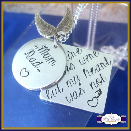 Personalised Memory Necklace - In Memory Of Jewellery - Your Wings Were Rea