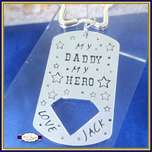 My Daddy My Hero - Personalised Diamond Keyring - Our Daddy Our Hero - Keyc