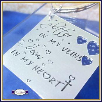 Glitter In My Veins Jesus In My Heart Keyring - Religious Keyring - Modern Religions Gift - Jesus In My Heart Gift - Jesus Keychain