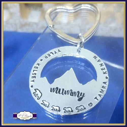 Personalised Mummy Bear Keyring - Daddy Bear Gift - Mountain Keyring - This