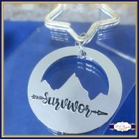 Personalised Mountain Keyring - Survivor Keyring - YOU CHOOSE WORDING - Survivor Mountain Keyring - Mountain Range - Boho Keyring - Travel