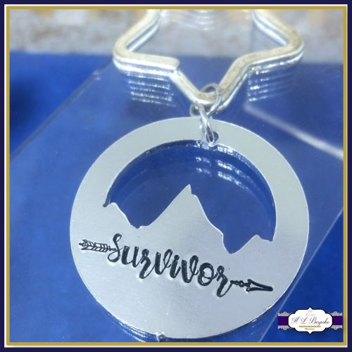 Personalised Mountain Keyring - Survivor Keyring - YOU CHOOSE WORDING - Sur