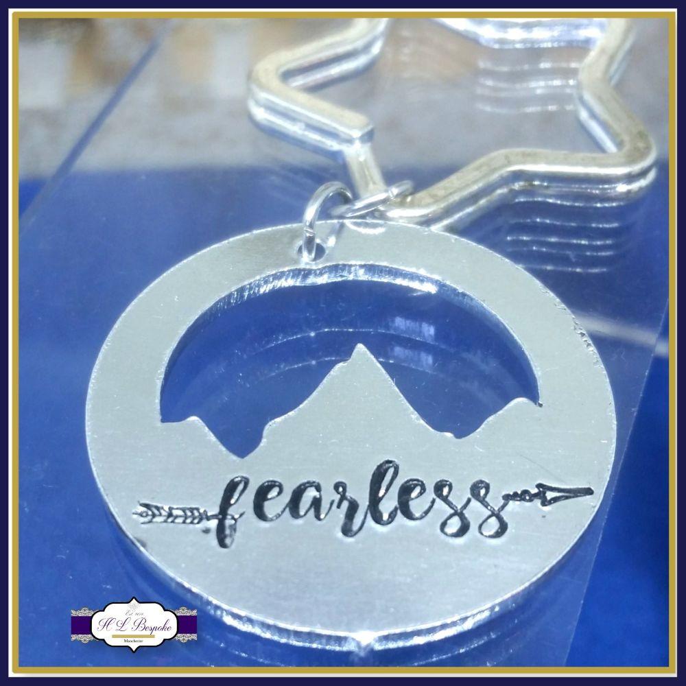 Personalised Mountain Keyring - Fearless Keyring - YOU CHOOSE WORDING - Fea